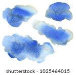 set of abstract hand paint blue ... | Shutterstock . vector #1025464015