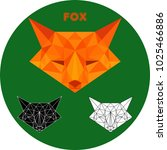 fox in lowpoly style on forest... | Shutterstock .eps vector #1025466886