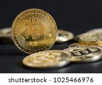 bitcoin isolated on black... | Shutterstock . vector #1025466976