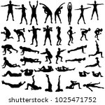 big set of vector silhouettes... | Shutterstock .eps vector #1025471752