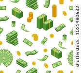dollar coins  bills and bundles ... | Shutterstock .eps vector #1025480632