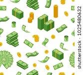 dollar coins  bills and bundles ... | Shutterstock .eps vector #1025480632