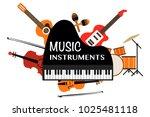 music instruments words on... | Shutterstock .eps vector #1025481118