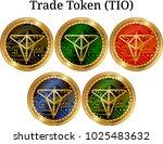 set of physical golden coin...   Shutterstock .eps vector #1025483632