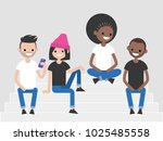 a multicultural group of... | Shutterstock .eps vector #1025485558
