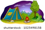 cartoon blue camping tent with... | Shutterstock .eps vector #1025498158