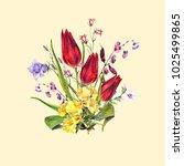 watercolor meadow  flowers.... | Shutterstock . vector #1025499865