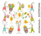 set of cute easter cartoon...   Shutterstock .eps vector #1025501446