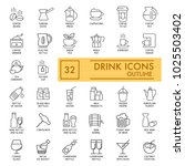 drinks vector icons set. simple ... | Shutterstock .eps vector #1025503402