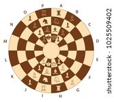 round brown chessboard for two... | Shutterstock .eps vector #1025509402