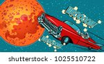 the astronaut driver in car on...   Shutterstock .eps vector #1025510722