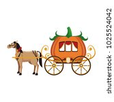 pumpkin carriage with horse...   Shutterstock .eps vector #1025524042