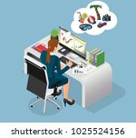 hardworking person dreams about ... | Shutterstock .eps vector #1025524156