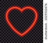 neon red heart. vector... | Shutterstock .eps vector #1025532676