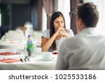 distracted pensive woman... | Shutterstock . vector #1025533186