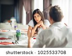 worried woman doubting.angry... | Shutterstock . vector #1025533708