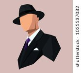 icon of the gangster in a hat... | Shutterstock .eps vector #1025537032