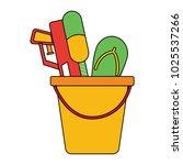 plastic bucket with water... | Shutterstock .eps vector #1025537266