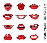 comic female lips set. smile ... | Shutterstock .eps vector #1025537575