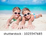 adorable little sisters at... | Shutterstock . vector #1025547685