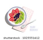 yogurt breakfast bowl   yogurt  ... | Shutterstock .eps vector #1025551612