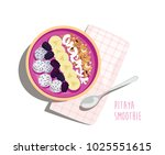 pitaya smoothie breakfast bowl... | Shutterstock .eps vector #1025551615