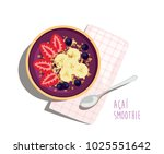 acai smoothie bowl   acai fruit ... | Shutterstock .eps vector #1025551642