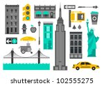vector set of new york city... | Shutterstock .eps vector #102555275