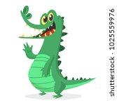 funny cartoon crocodile... | Shutterstock .eps vector #1025559976