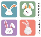 cute rabbits set heads icons | Shutterstock .eps vector #1025562256