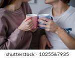 having coffee they are... | Shutterstock . vector #1025567935