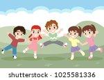 cute children jumping together | Shutterstock .eps vector #1025581336