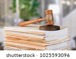 judge hammer and documents | Shutterstock . vector #1025593096