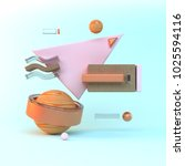 abstract 3d of wood objects on... | Shutterstock . vector #1025594116