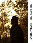 Man In Autumn With Evening Light