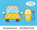 yellow car and fuel pump  gas...   Shutterstock .eps vector #1025607226