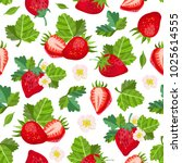 vector strawberry seamless... | Shutterstock .eps vector #1025614555