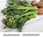 gai lan or kai lan or chinese... | Shutterstock . vector #1025620102