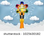 lamps launch to the sky.... | Shutterstock .eps vector #1025630182