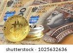 bitcoin coins on poland zloty ... | Shutterstock . vector #1025632636