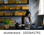 young asian woman entrepreneur  ... | Shutterstock . vector #1025641792