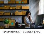 young asian woman entrepreneur  ... | Shutterstock . vector #1025641792