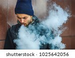 vape man. portrait of a... | Shutterstock . vector #1025642056