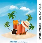 vacation concept. beach with a... | Shutterstock .eps vector #1025643016