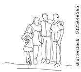 sketch family on white... | Shutterstock . vector #1025646565