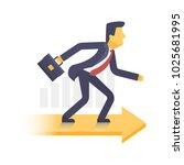 businessman with arrow way to... | Shutterstock .eps vector #1025681995