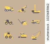 icons construction machinery... | Shutterstock .eps vector #1025685862
