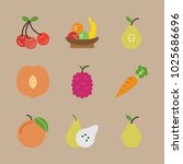 icons fruits with cherry  peach ... | Shutterstock .eps vector #1025686696