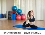 sport woman practicing yoga... | Shutterstock . vector #1025692522