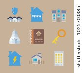 icons real estate with house... | Shutterstock .eps vector #1025700385